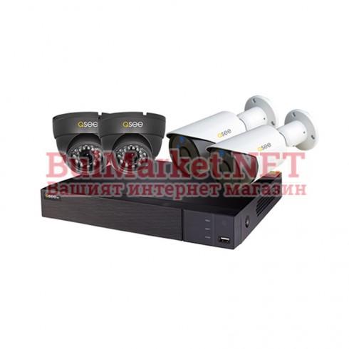Комплект за видеонаблюдение  2бр. вътрешни + 2бр. външни AHD камери, 1080P + DVR 4 канала