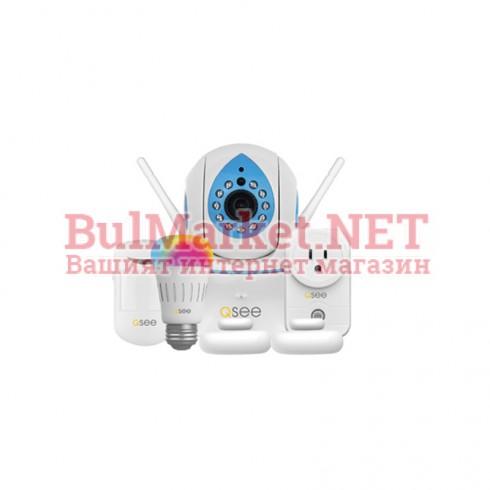 "IP безжична камера с датчик за движение + аларма + RGB лампа + Smart Socket, 1.0 MP, 1280x720@20fps, 1/4"" CMOS, 3.6mm, IR-10m, WiFi"